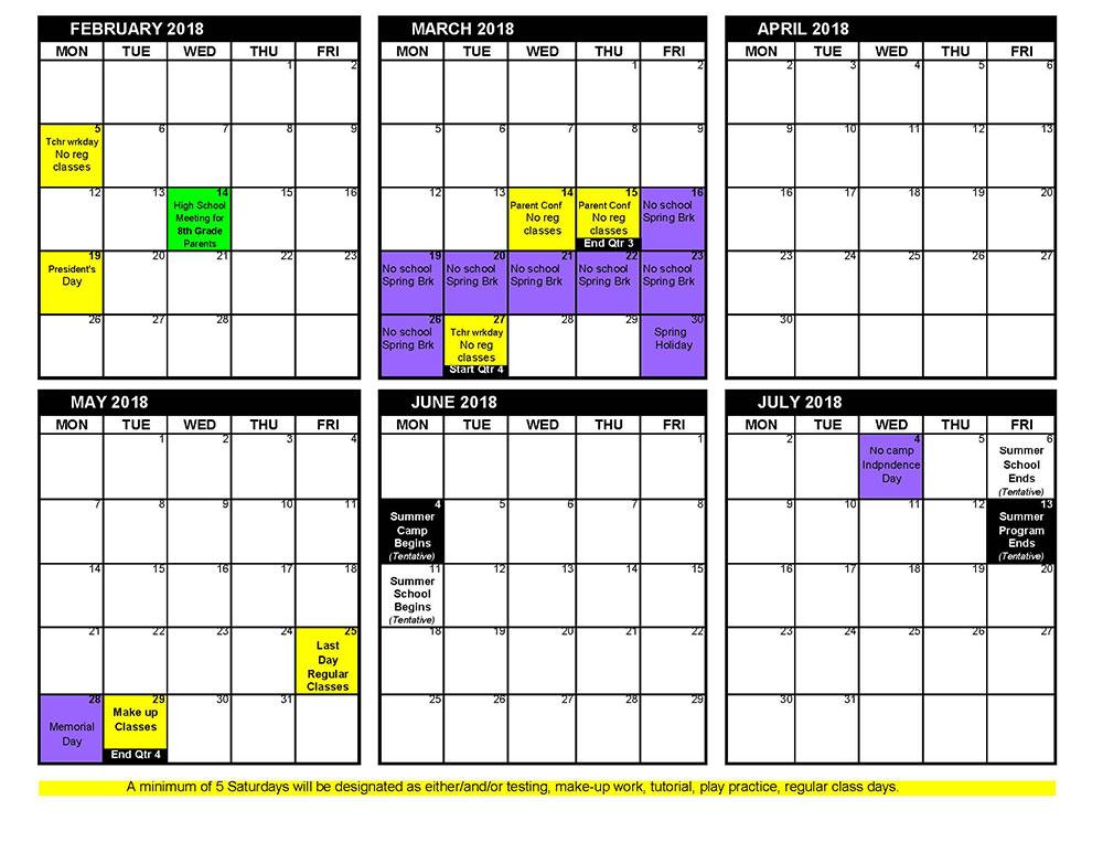 work calendars 2018